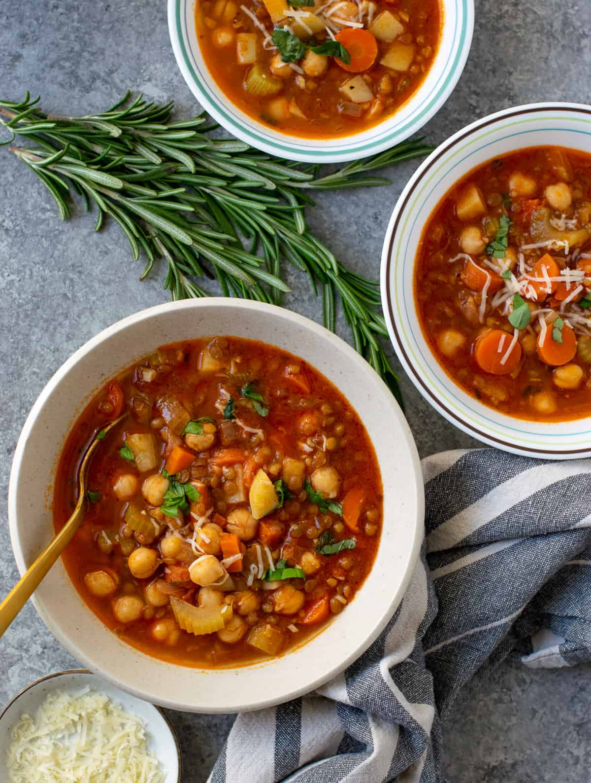 Lentil Soup With Chickpeas Rosemary & Garlic served in three bowls