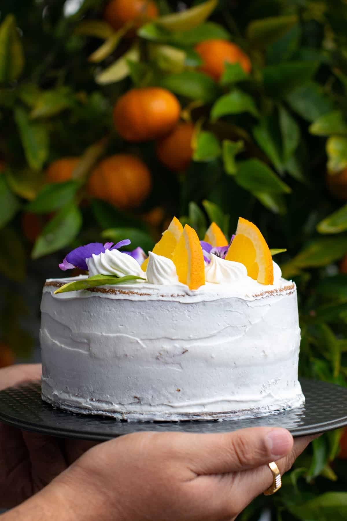 Holding the cake next to my orange tree