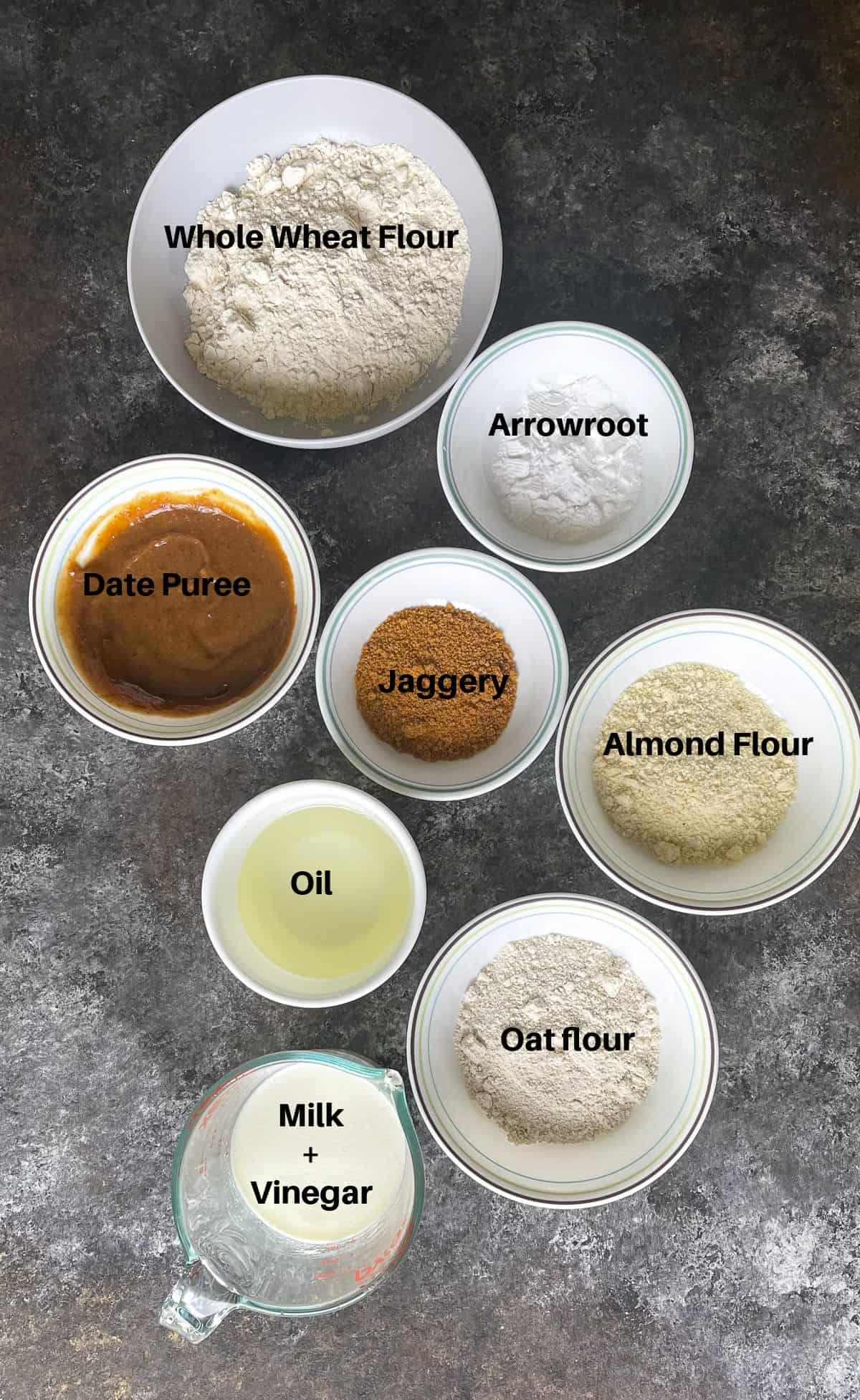 Ingredients to make a fruit cake