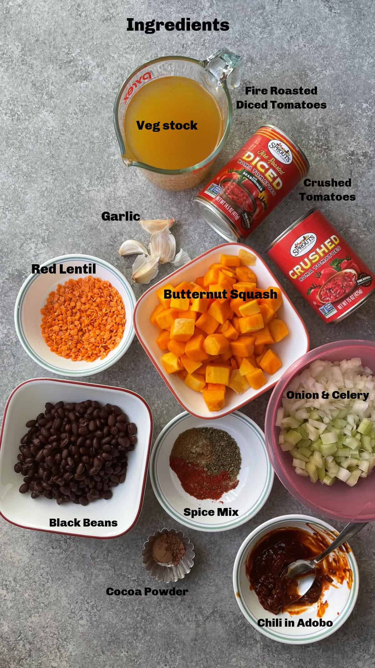 Ingredients to make the chili in instant pot