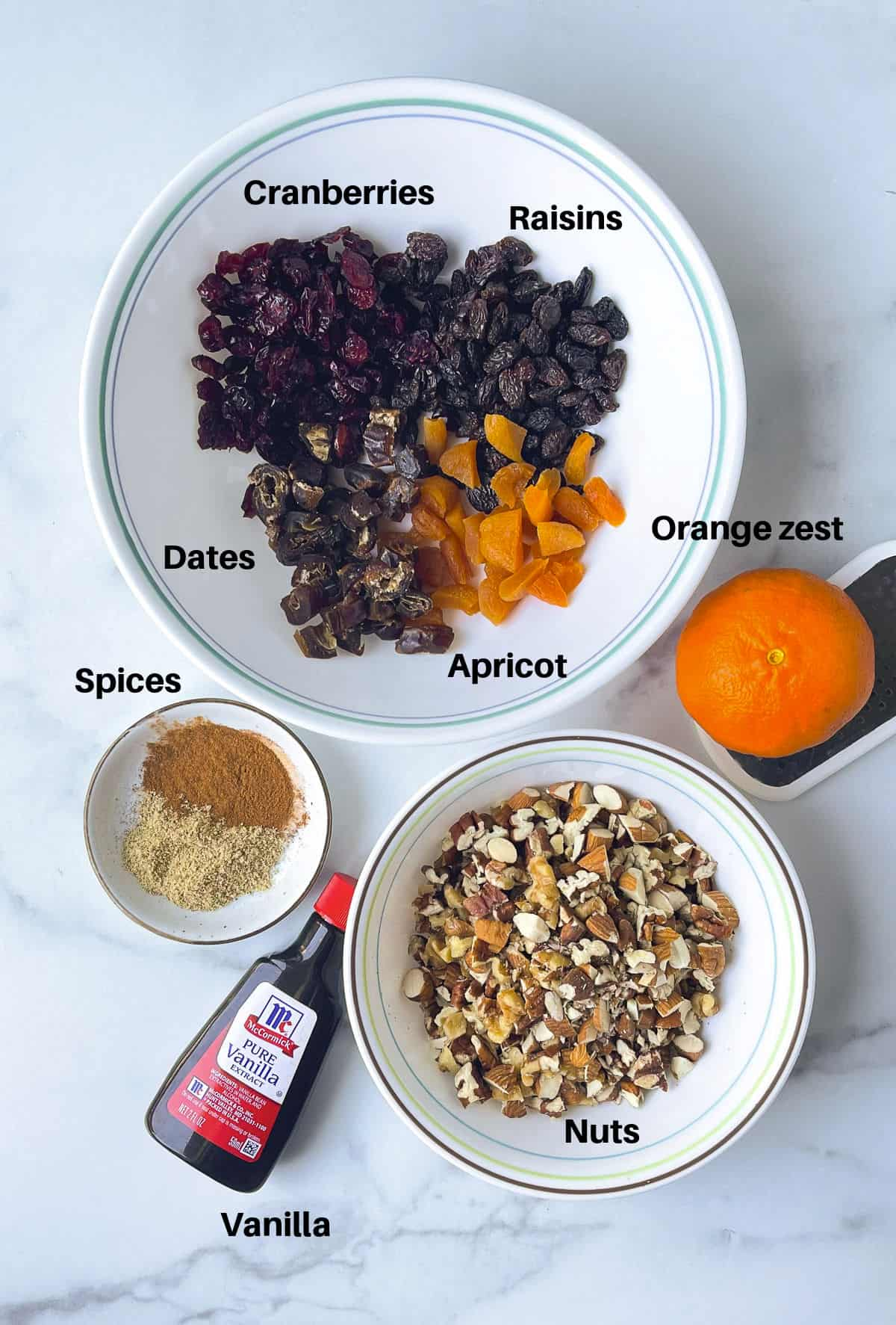 Flavors that go in the fruit cake kept in bowls