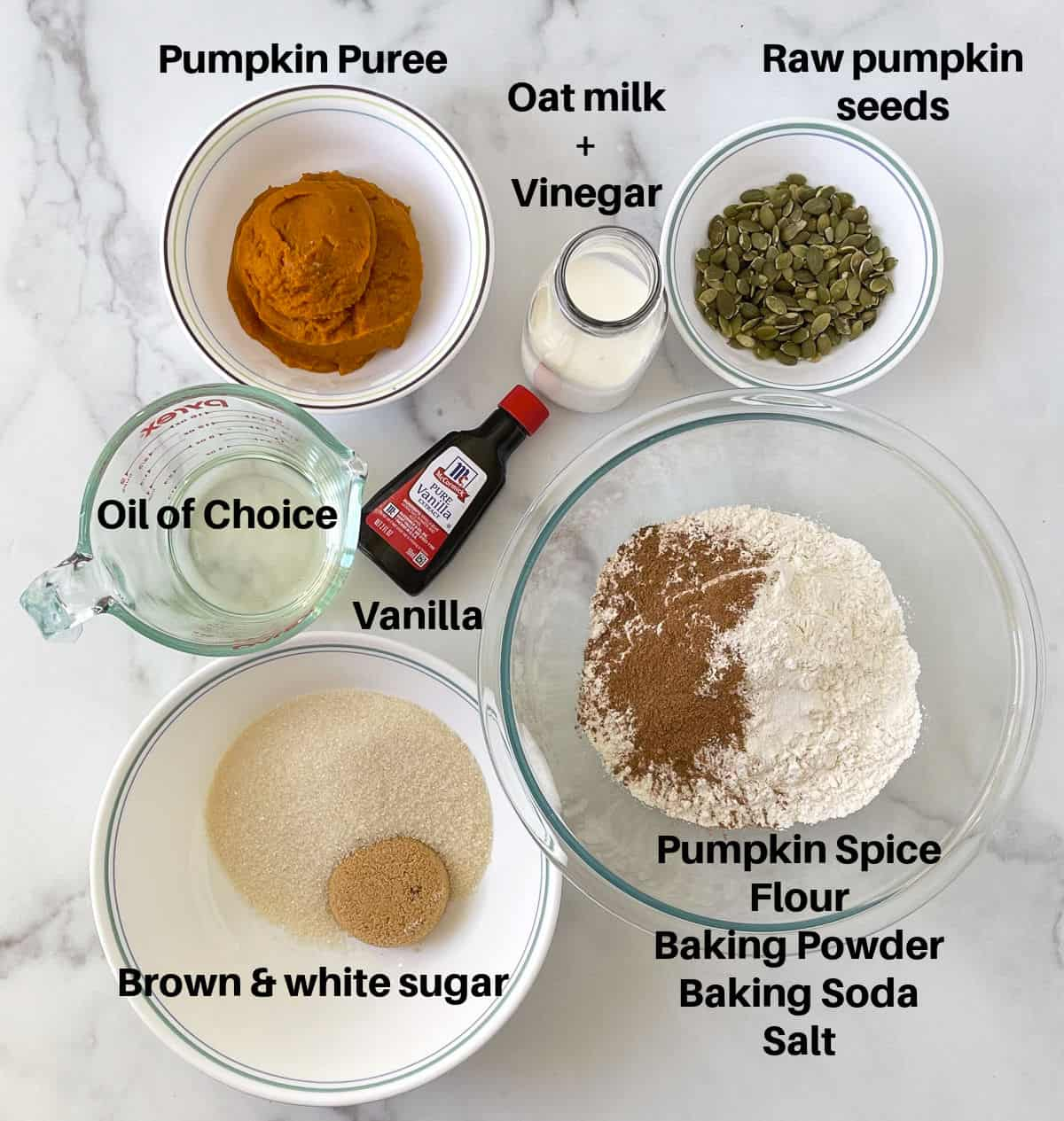 Ingredients to make pumpkin bread