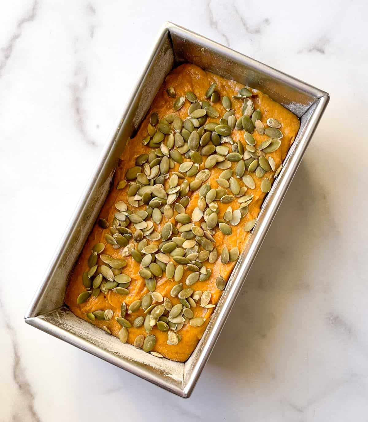 Topping batter with pumpkin seeds