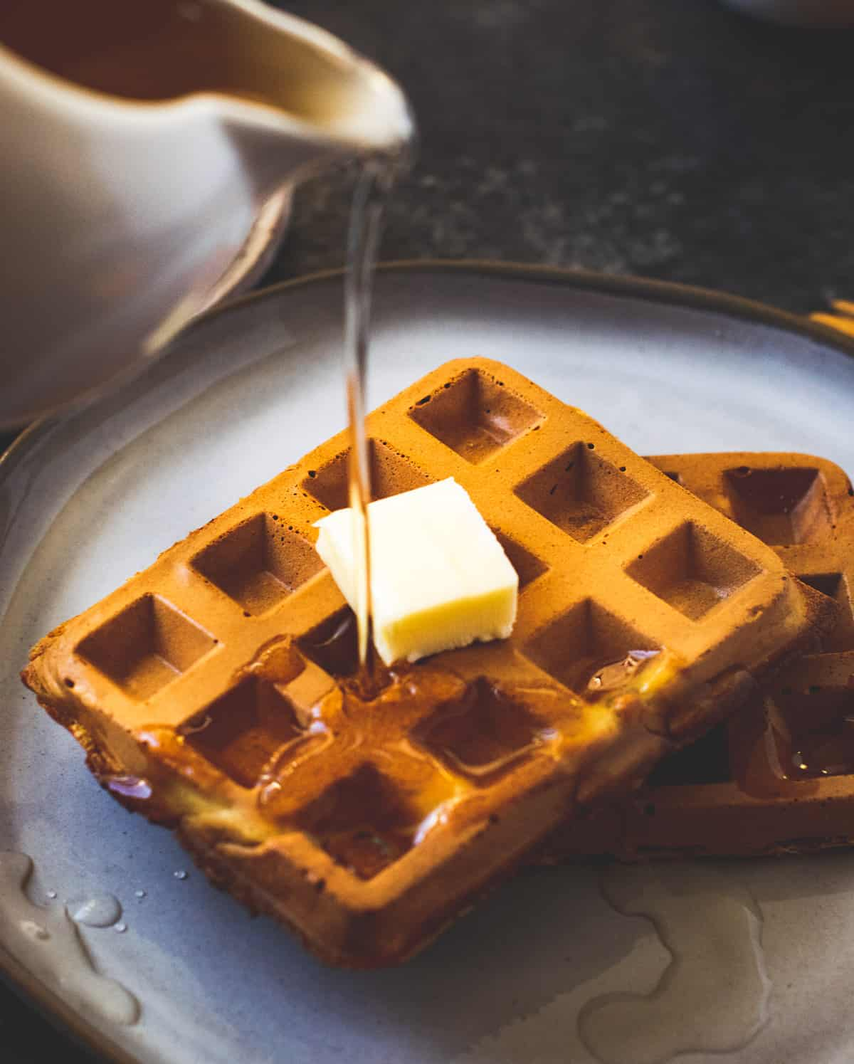 Vegan Spiced Pumpkin Waffles with agave syrup