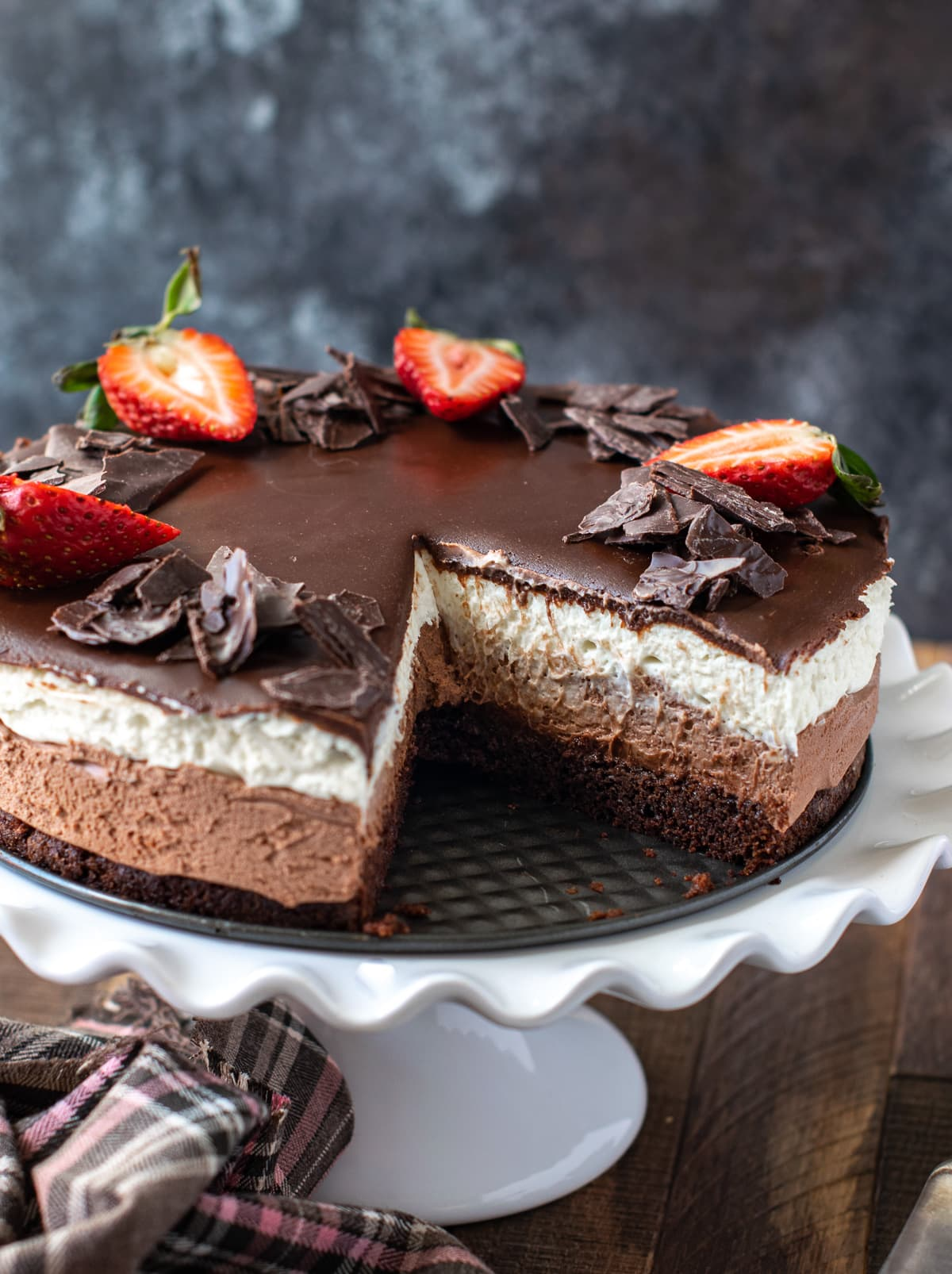 Triple Chocolate mousse cake on a cake stand