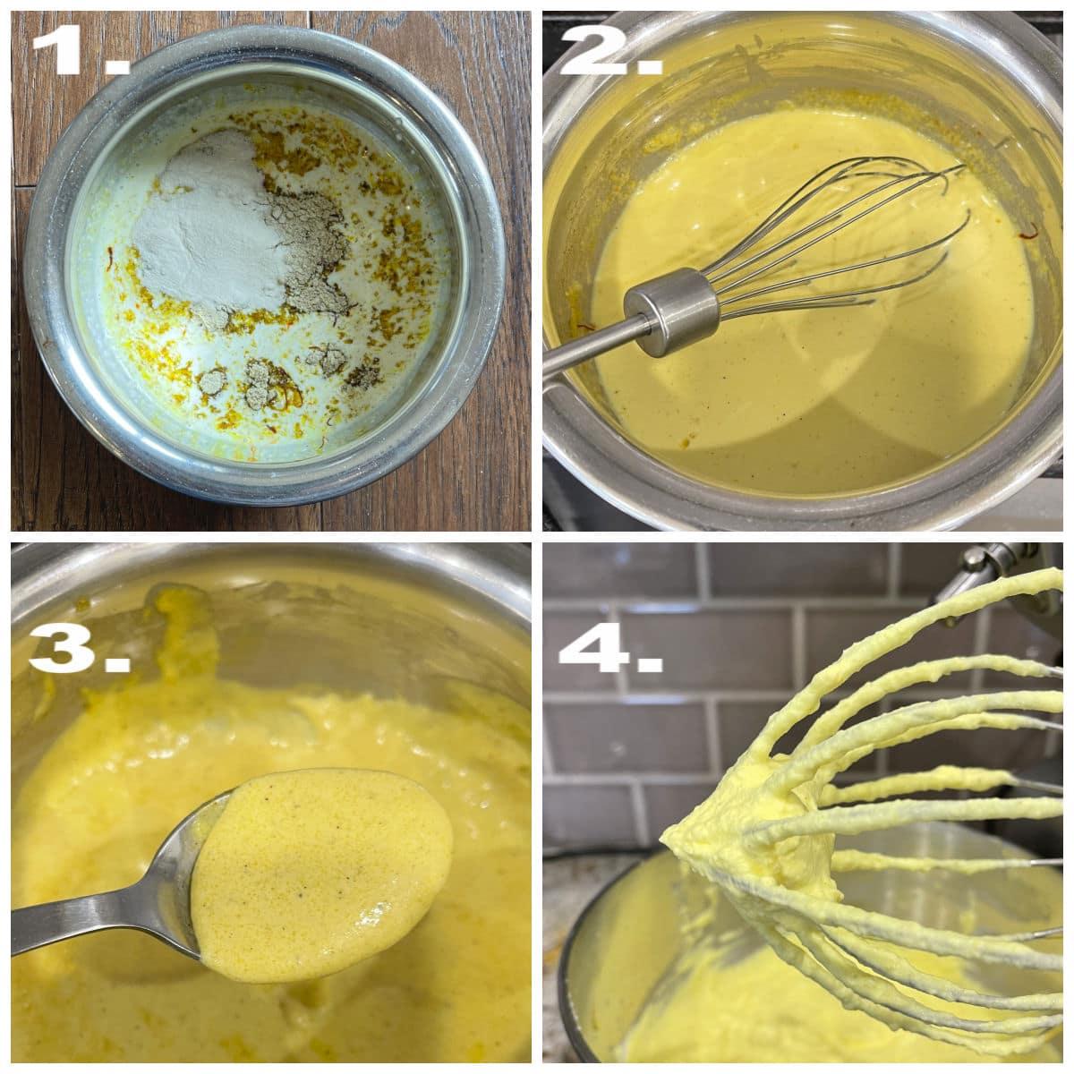 Steps in activating agar agar milk mixture