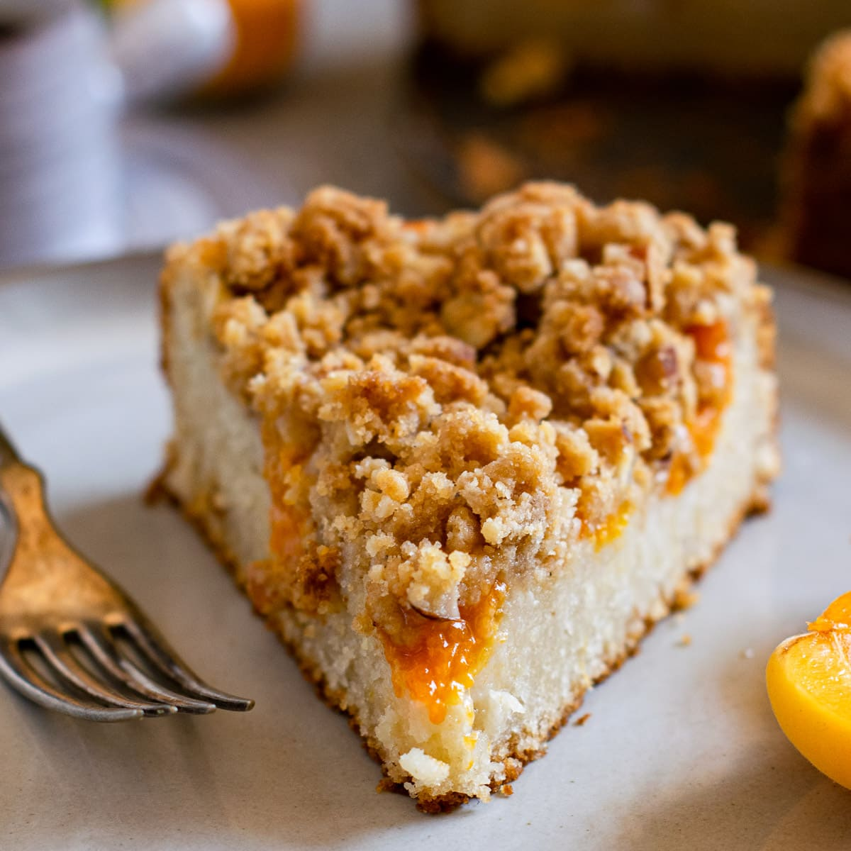 Almond Apricot Crumb Cake seved on a plate