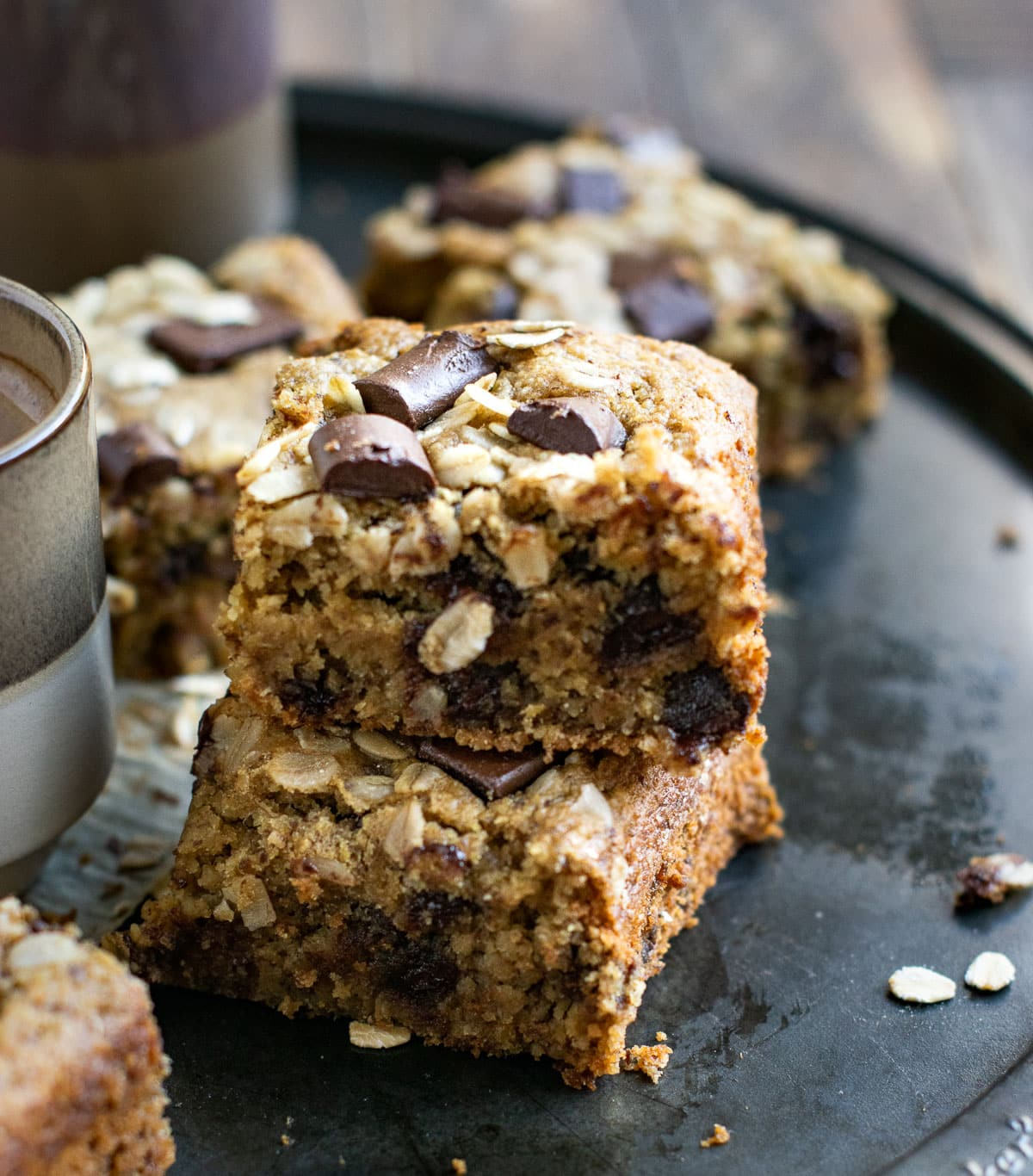 Healthy oat cake stacked and set on a tray