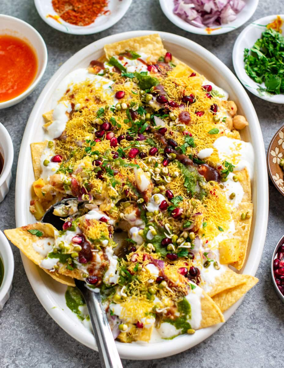 Vegan gluten-free Indian chaat on a white plate.