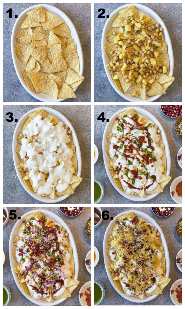 Collage steps in making papri chaat by layering ingredients.